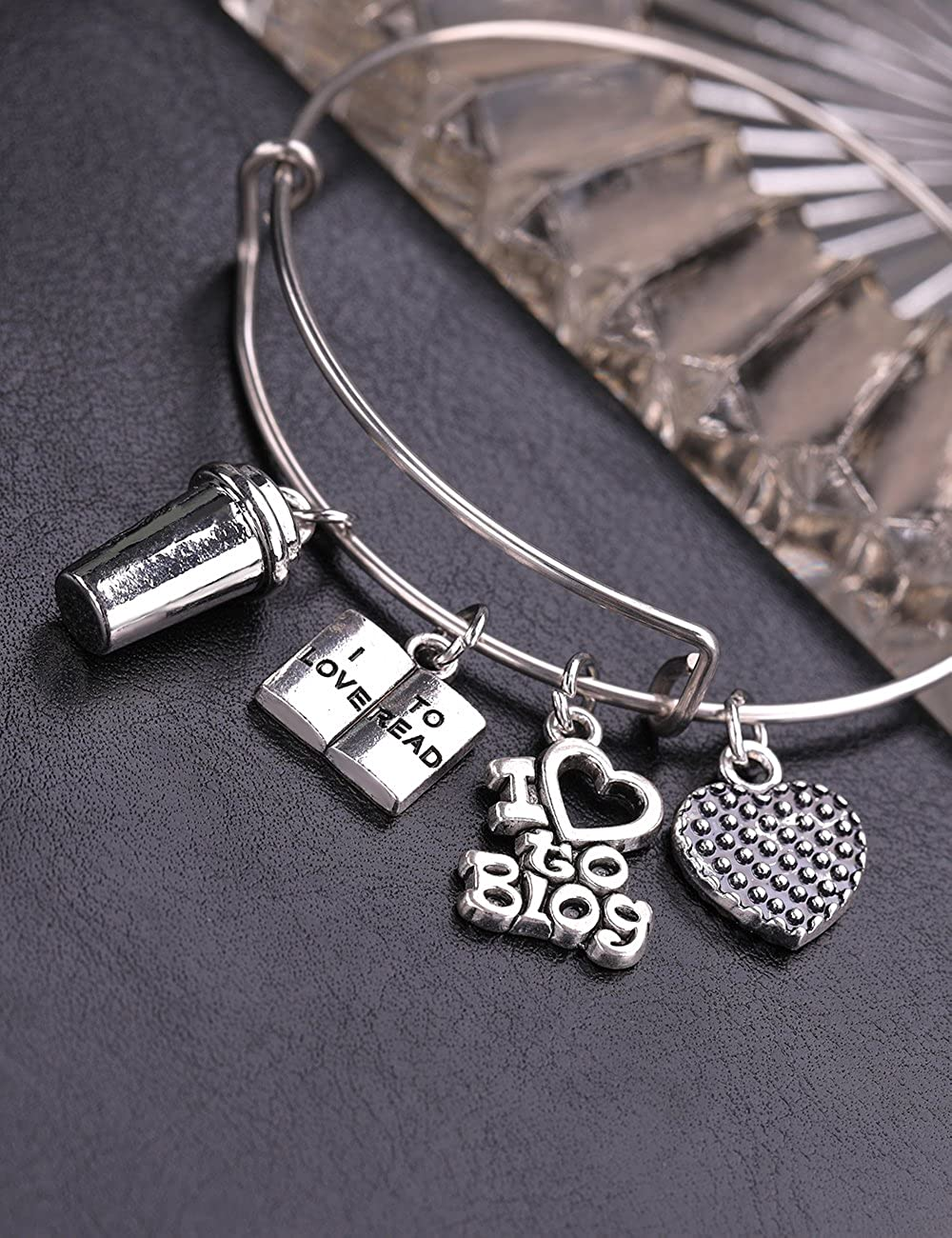Dawapara Cafe Symbol Coffee Cup with Book I Love to Read Statement Charm Bracelet Jewelry for Artistic Lady//Girl
