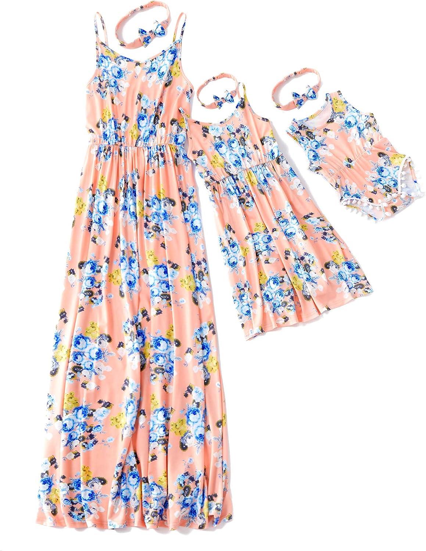 Yaffi Mommy and Me Maxi abito da spaghetti con stampa floreale estiva casual lungo abito per madre figlia con fascia