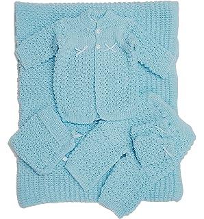 f6d84493f Amazon.com   White 6 Pc Knit Crochet Popcorn Style Baby Set Blanket ...