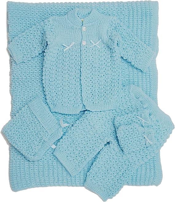 BABY BOY//GIRL 4 PIECE GIFT PRAM SET BLUE//PINK,KNITTED CARDIGAN,PANTS,MITTENS,HAT