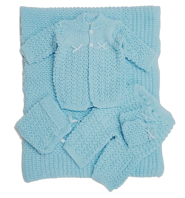 Amazoncom Newborn Baby Crochet Blanket 5 Piece Set Hat Booties
