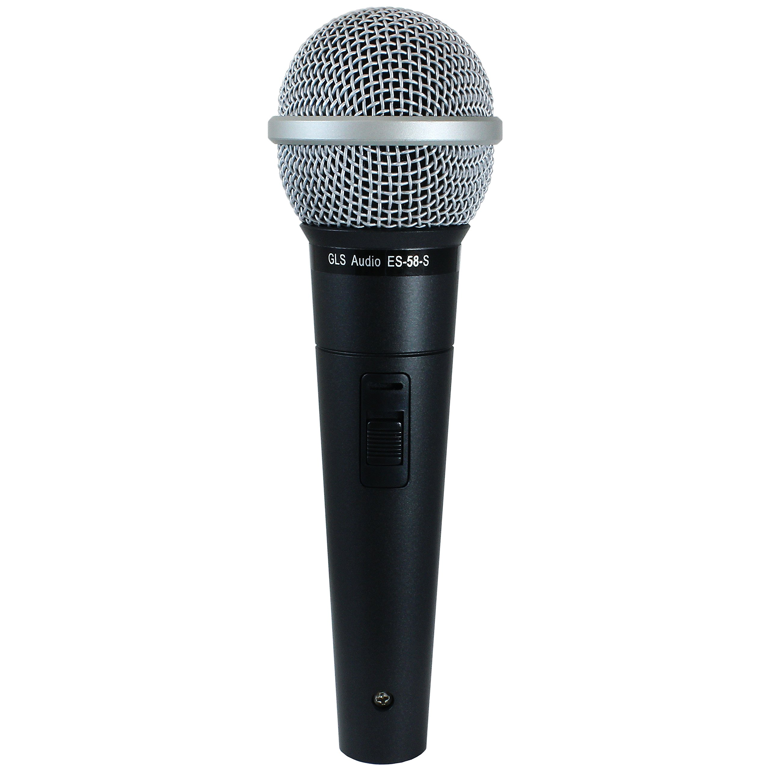 GLS Audio Vocal Microphone ES-58-S & Mic Clip - Professional Series ES58-S Dynamic Cardioid Mike Unidirectional (With On/Off Switch) by GLS Audio