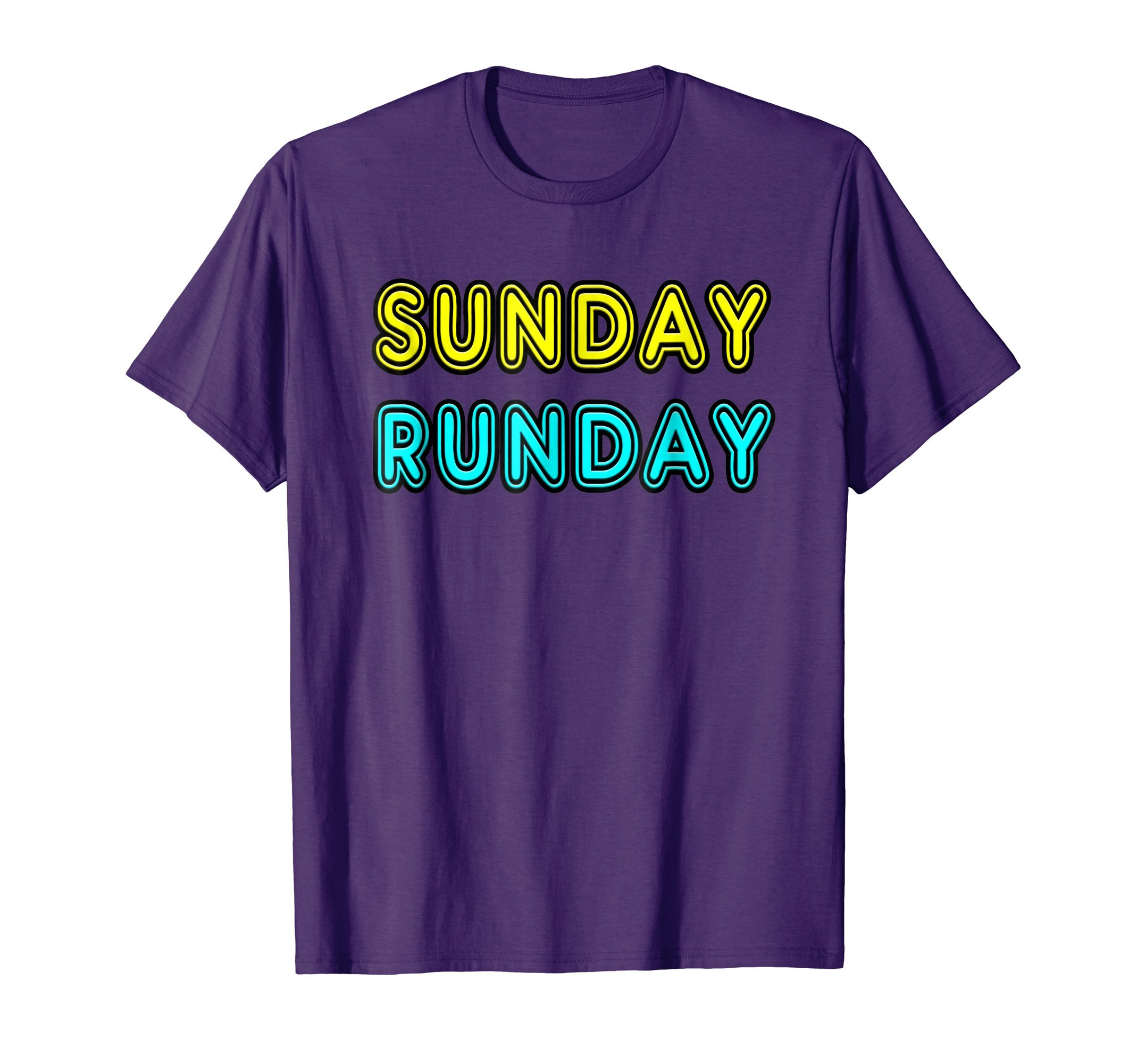 Mens Fun Retro 80's Neon Sunday Runday Gift T-Shirt Women & Men 3XL Purple