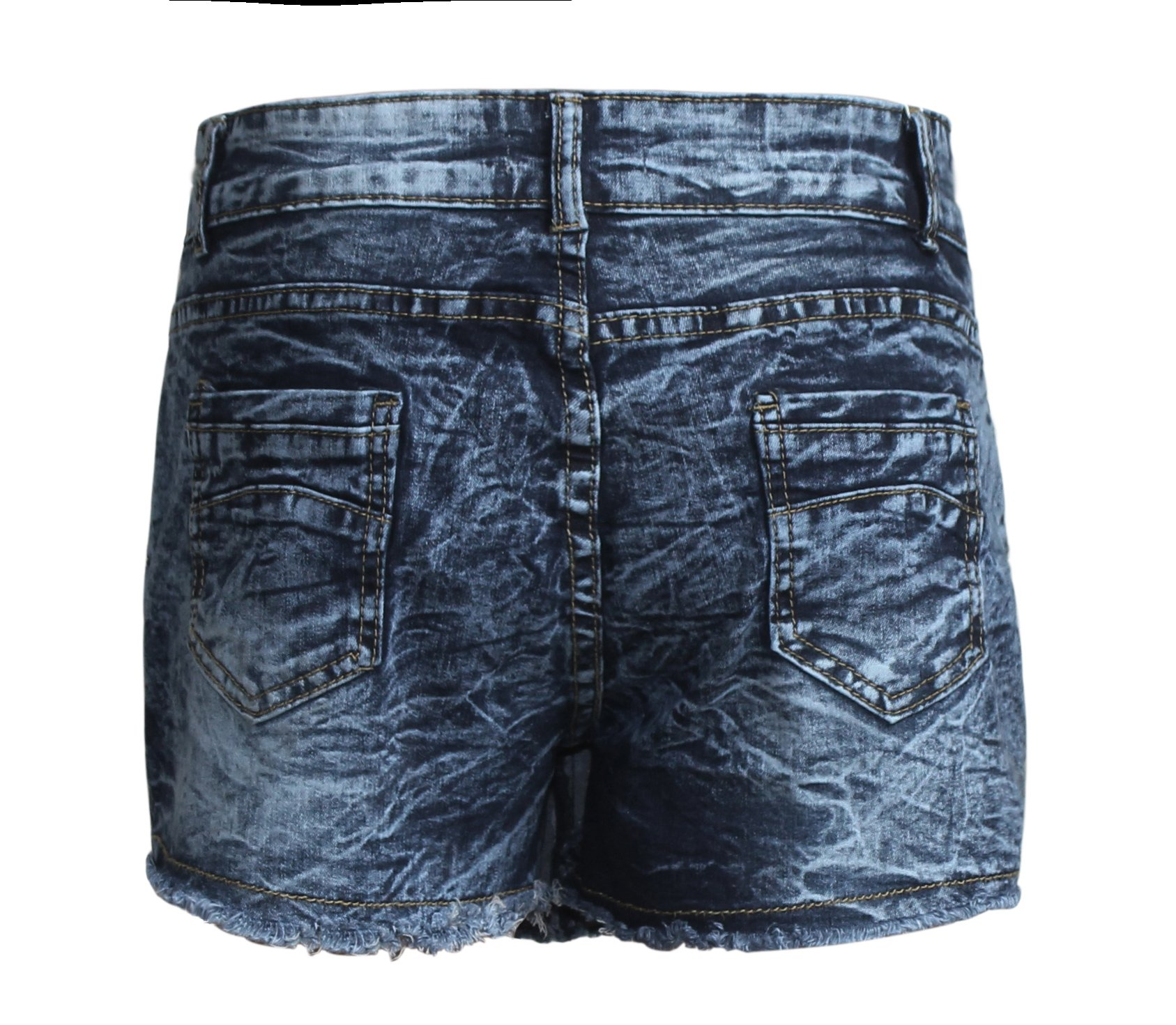 Goddess Area Women\'s Casual Mid Waisted Distressed Ripped Stretch Denim Shorts Jeans (9, Blue)