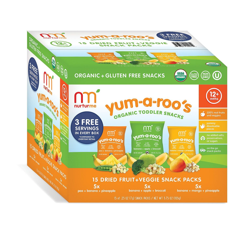 NurturMe Yum-A-Roo's Organic Toddler Snacks (0.25 oz.,15 ct.) (pack of 6)