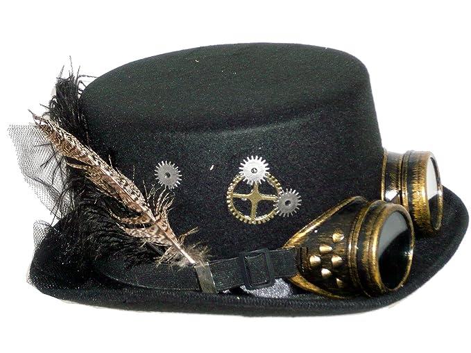 27732 Black Ladies Deluxe Steampunk Hat with Goggles and Trim 58-59cm 7 3  86556e6da838