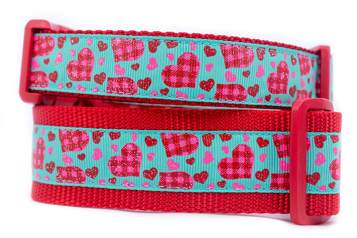 Pink Plaid Dog Collar 1 inch or 1.5 inch wide