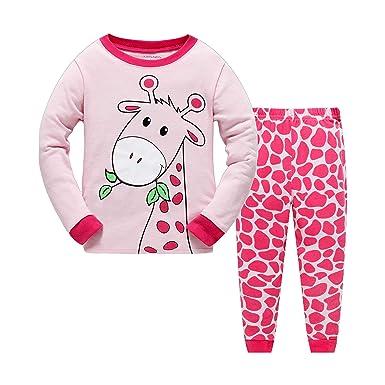 efed9a43258ef Gold Treasure Pyjama Ensemble Rose Girafe Enfants Filles vêtements Manches  Longues Coton Taille 2 Ans