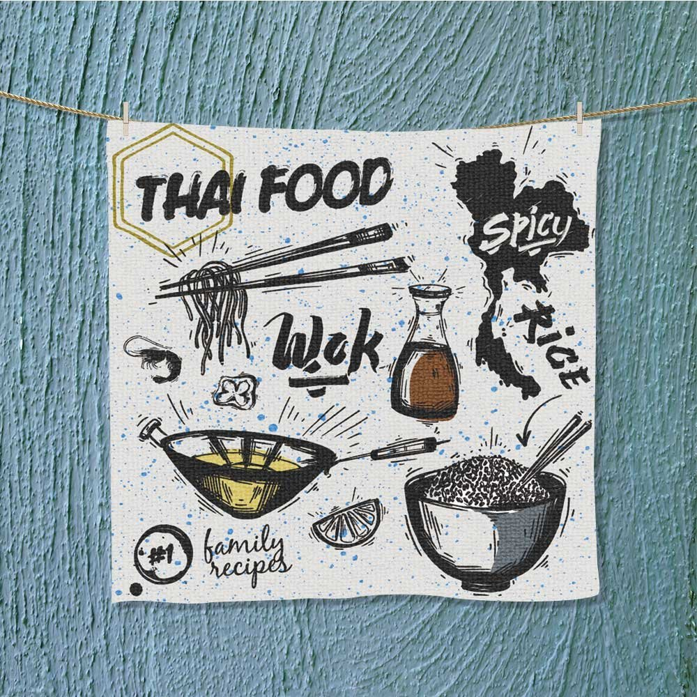L-QN swim towelset sian dishes thai food noodles and rice Super Soft W19.7 x W19.7 by L-QN