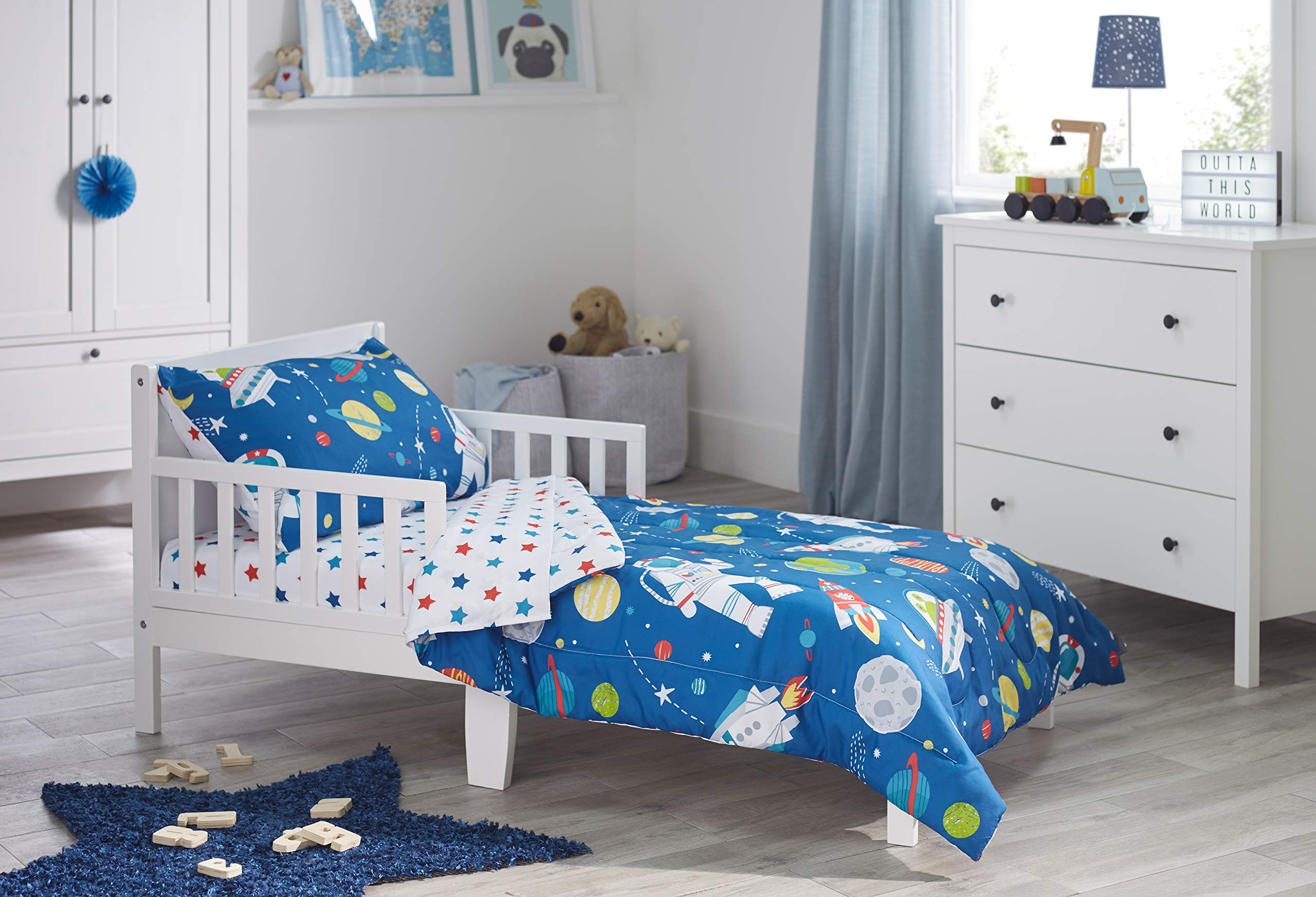 Bloomsbury Mill - 4 Piece Toddler Comforter Set - Outer Space, Rocket & Planet - Blue - Kids Bedding Set by Bloomsbury Mill