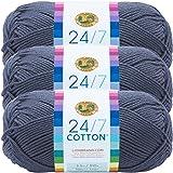 (3 Pack) Lion Brand Yarn 761-108 24-7 Cotton Yarn, Denim