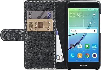 StilGut Talis, housse Huawei nova avec porte-cartes en cuir véritable. Etui portefeuille à ouverture latérale et languette magnétique pour Huawei nova, Noir