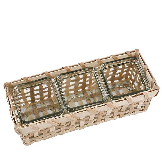 Dadeldo Windlicht Teelichthalter Vase Eckig Bambus Korb Design Natur