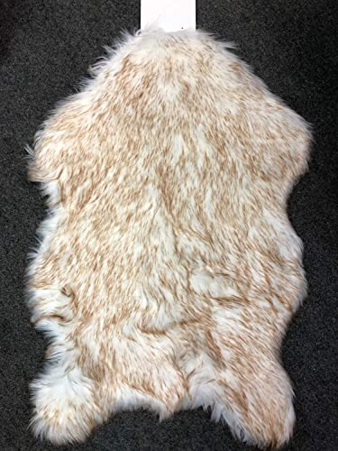 Deluxe Soft Faux Sheepskin Chair Cover Seat Pad Shaggy Area Rugs for Bedroom Sofa Floor 3ft x 5ft, Ivory Brown Tip