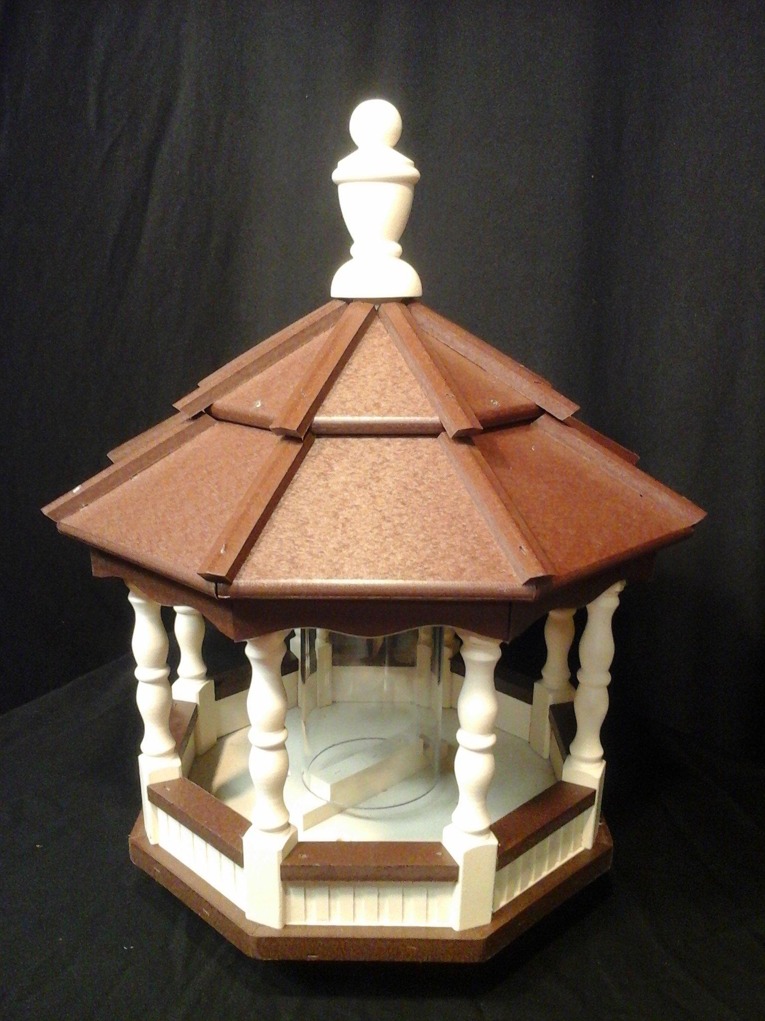 Medium Vinyl Bird Feeder Amish Spindle Homemade Handmade Handcrafted Ivory & Brown