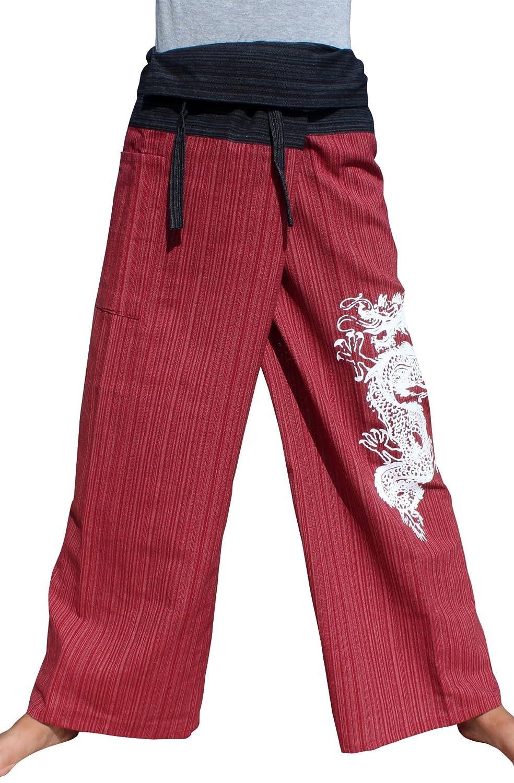 Black Red Raan Pah Muang RaanPahMuang Striped Cotton Two Toned Fisherman Pants Asian Dragon Tattoo