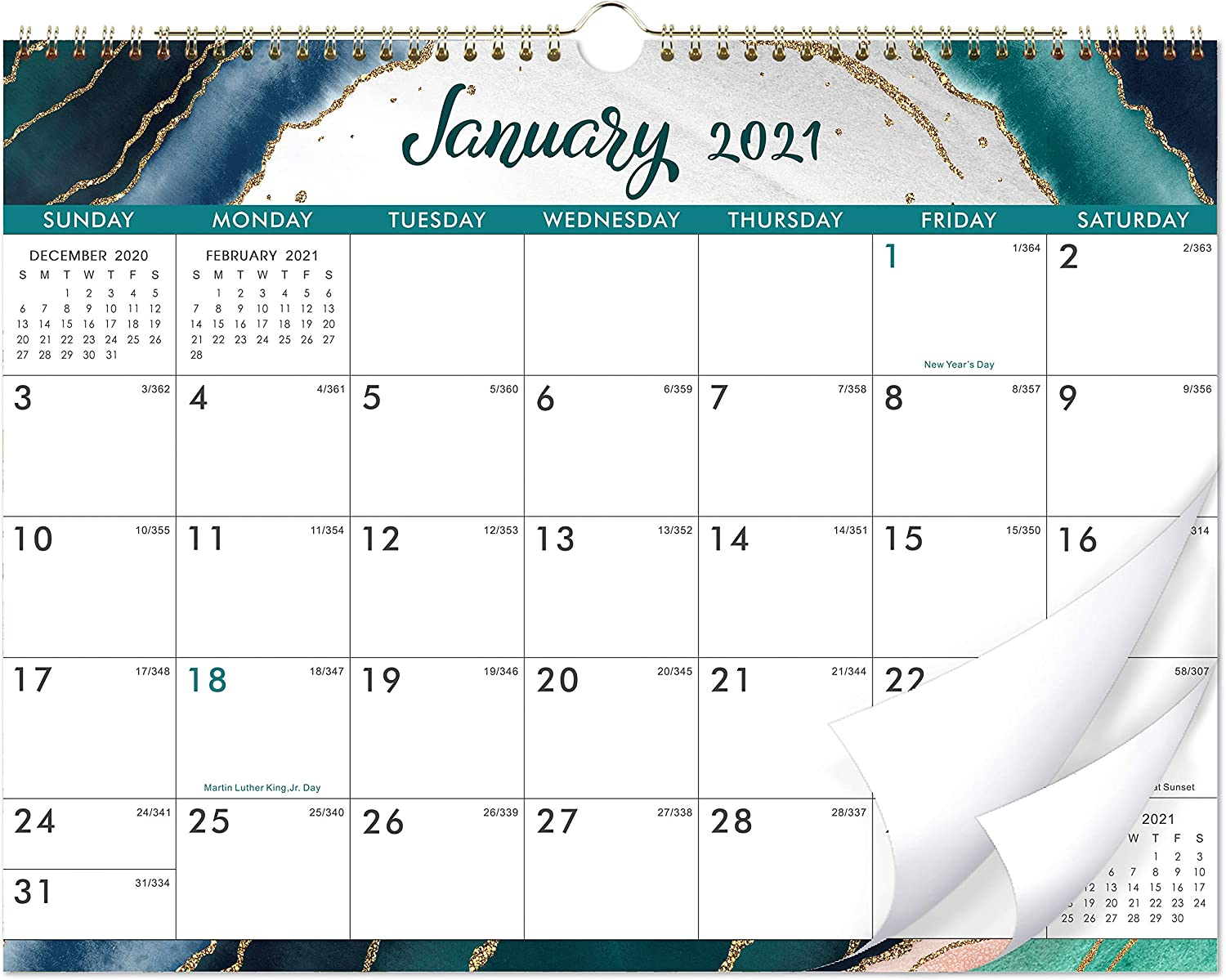 "2021 Calendar - 12 Monthly Wall Calendar with Thick Paper, 14"" x 11"", Jan. 2021 - Dec. 2021, Twin-Wire Binding + Hanging Hook + Unuled Blocks with Julian Date, Horizontal - Blue Gilding"