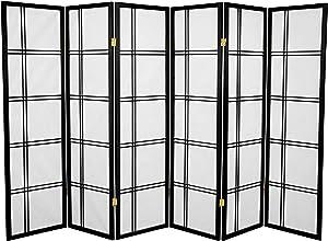Oriental Furniture 5 ft. Tall Double Cross Shoji Screen - Black - 6 Panels