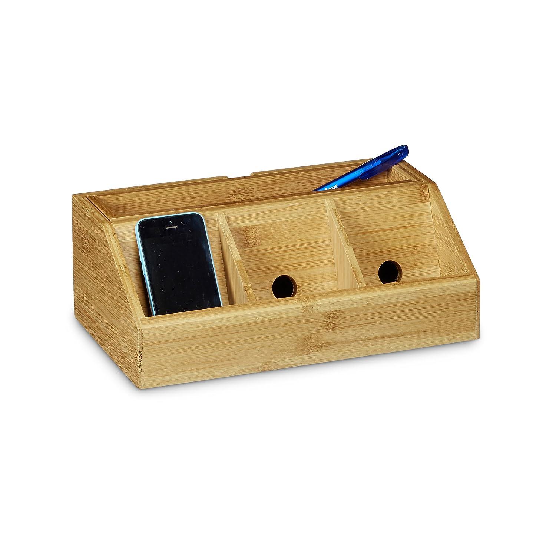 Relaxdays Organiseur de bureau distributeur de bureau bambou style portable fourniture boîte station chargeur smartphone trombone adhésif 5 compartiments bloc-note, nature 11 x 30 x 17,5 cm nature 11 x 30 x 17 10020335 organiseur-de-bureau rangement
