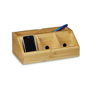 Relaxdays Schreibtisch Organizer Aus Bambus H X B X T Ca 11 X 30 X