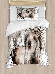 Lunarable Horse Duvet Cover Set, Watercolor Painting Style Animal Farm Animal Grungy Art Picture, Decorative 2 Piece Bedding Set with 1 Pillow Sham, Twin Size, Beige Black