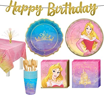Once Upon A Time Disney Princess Birthday Party Supplies Including Plates Utensils With Printed Ribbon Napkins