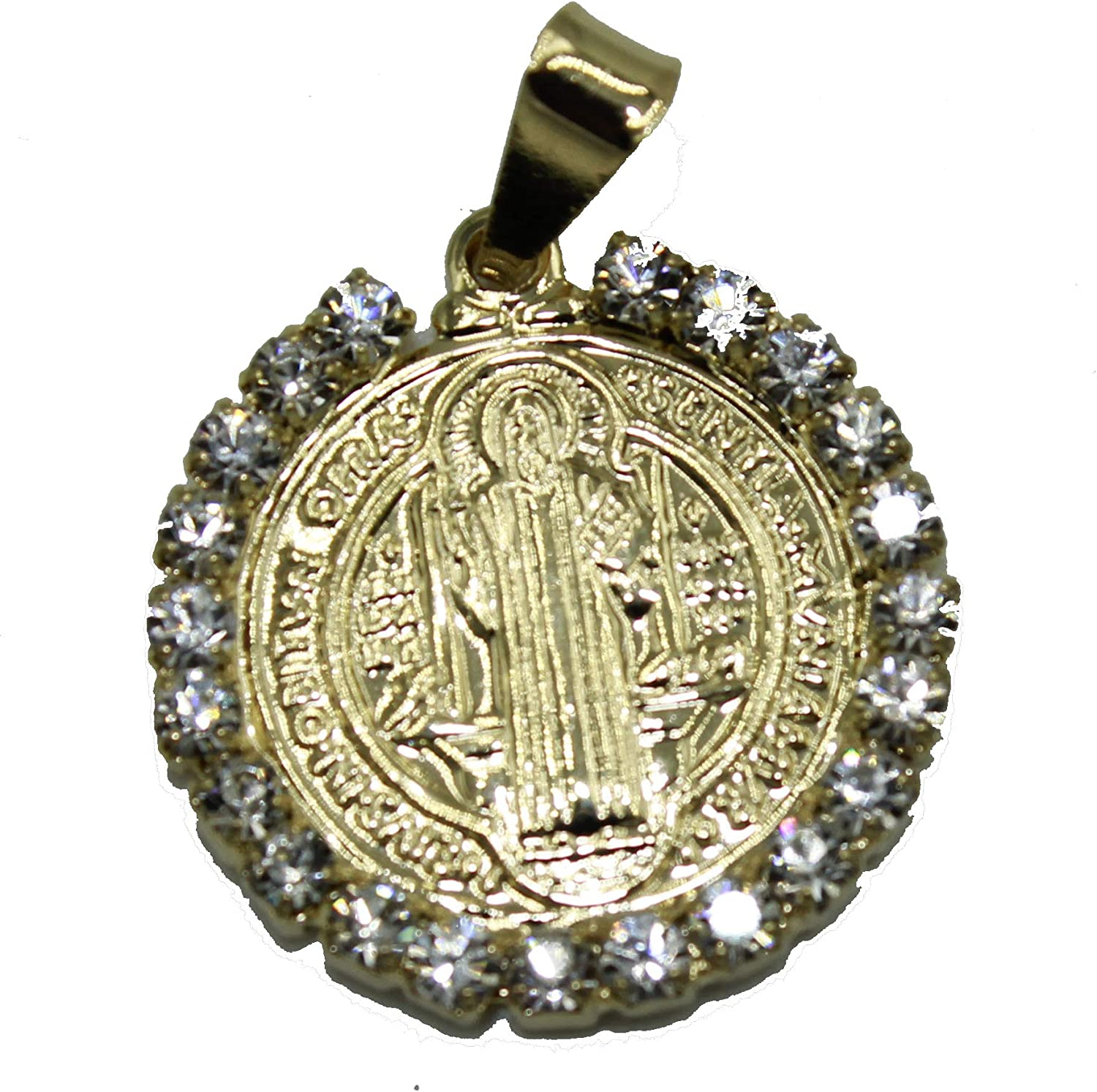 San Benito 18k Gold Plated Pendant with 22 inch Chain St Benedictus Medal