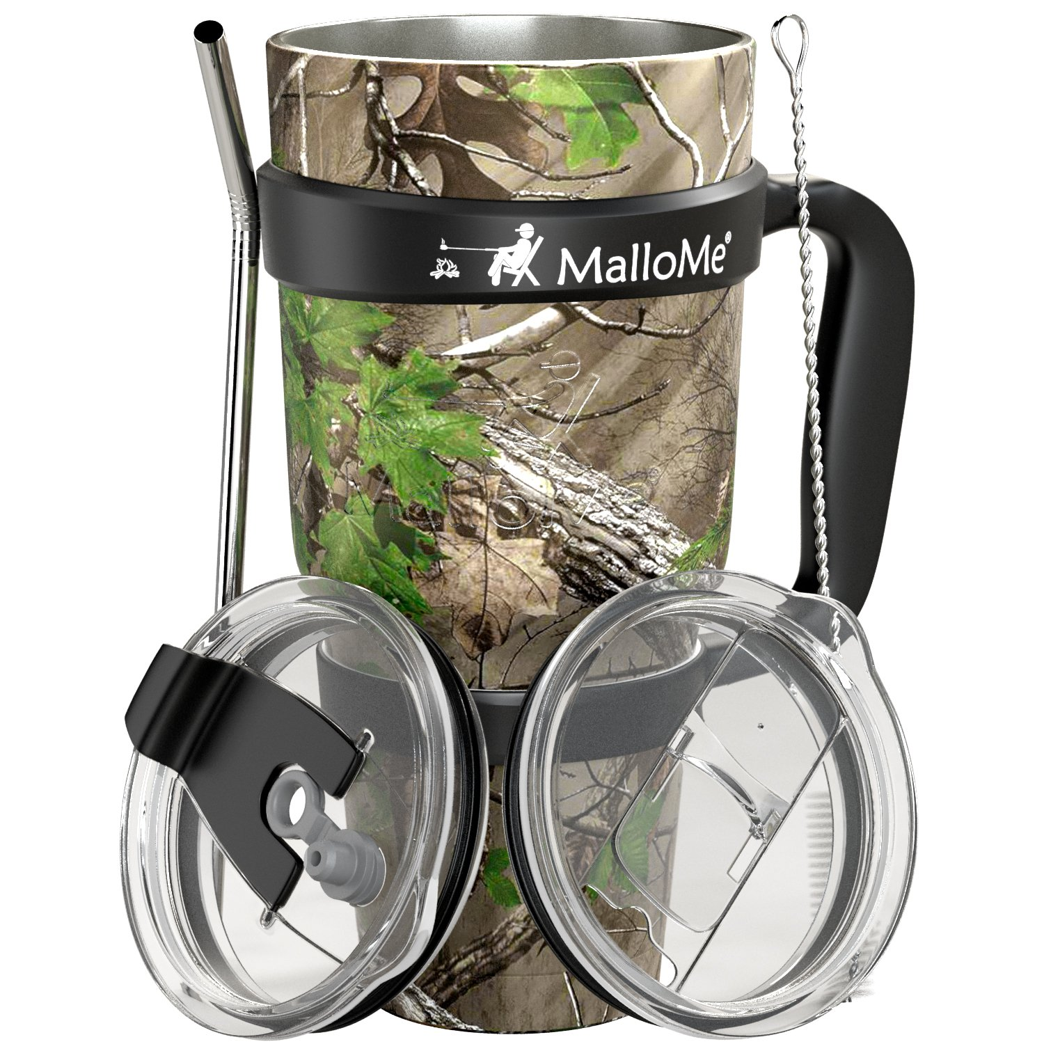 MalloMe Stainless Steel Vacuum Insulated 6-Piece Tumbler Set [Straw, Brush, Handle, 2x Lid Included] Forest Floor Camouflage 30 oz by MalloMe (Image #2)