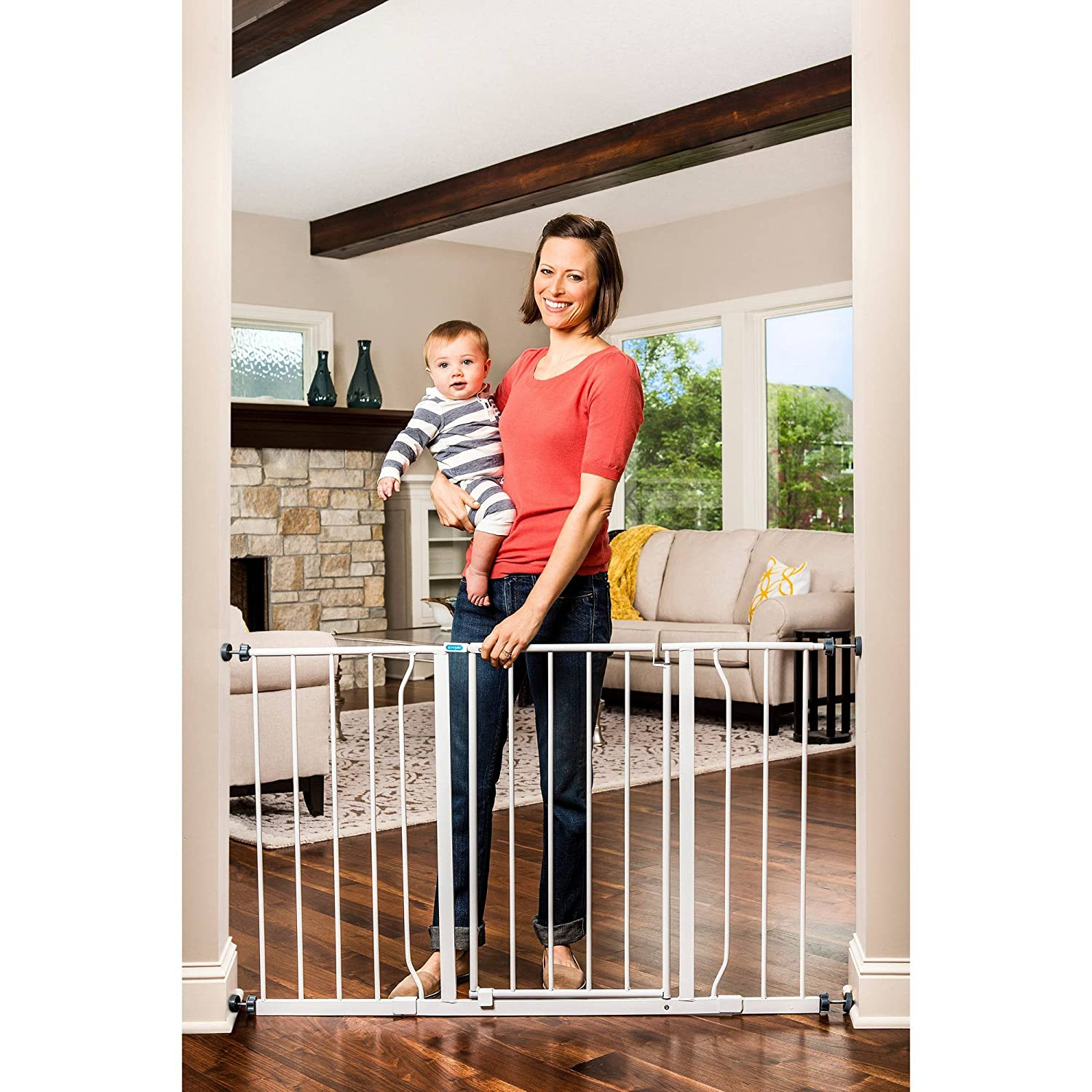 Regalo Easy-Open Walk-Through Safety Baby Gate with Extensions 29-50 inches