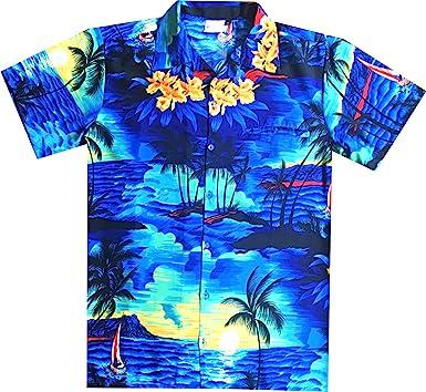 New Male Hawaiian Shirts Fashion Mens Casual Button Hawaii Print Beach Short Sleeve Quick Dry Top Blouse M-3XL,Yellow,M,United States