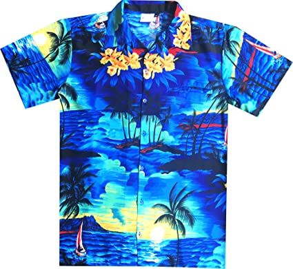 Virgin Crafts Camisa Hawaiana de Mangas Cortas con Cuello Camisero ...