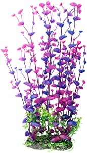 CNZ Aquarium Decor Fish Tank Decoration Ornament Artificial Purple Plastic Plant, 16-inch