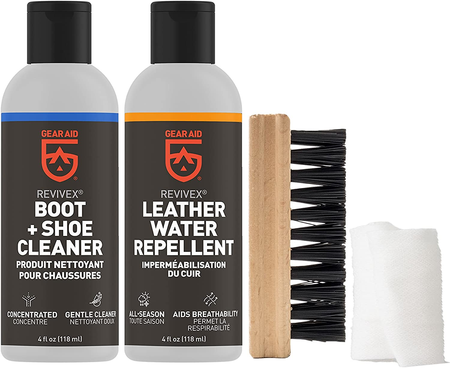 B002HH4H80 Gear Aid Revivex Leather Boot Care Kit with Water Repellent, Cleaner, Brush and Cloth 810lLRppgNL