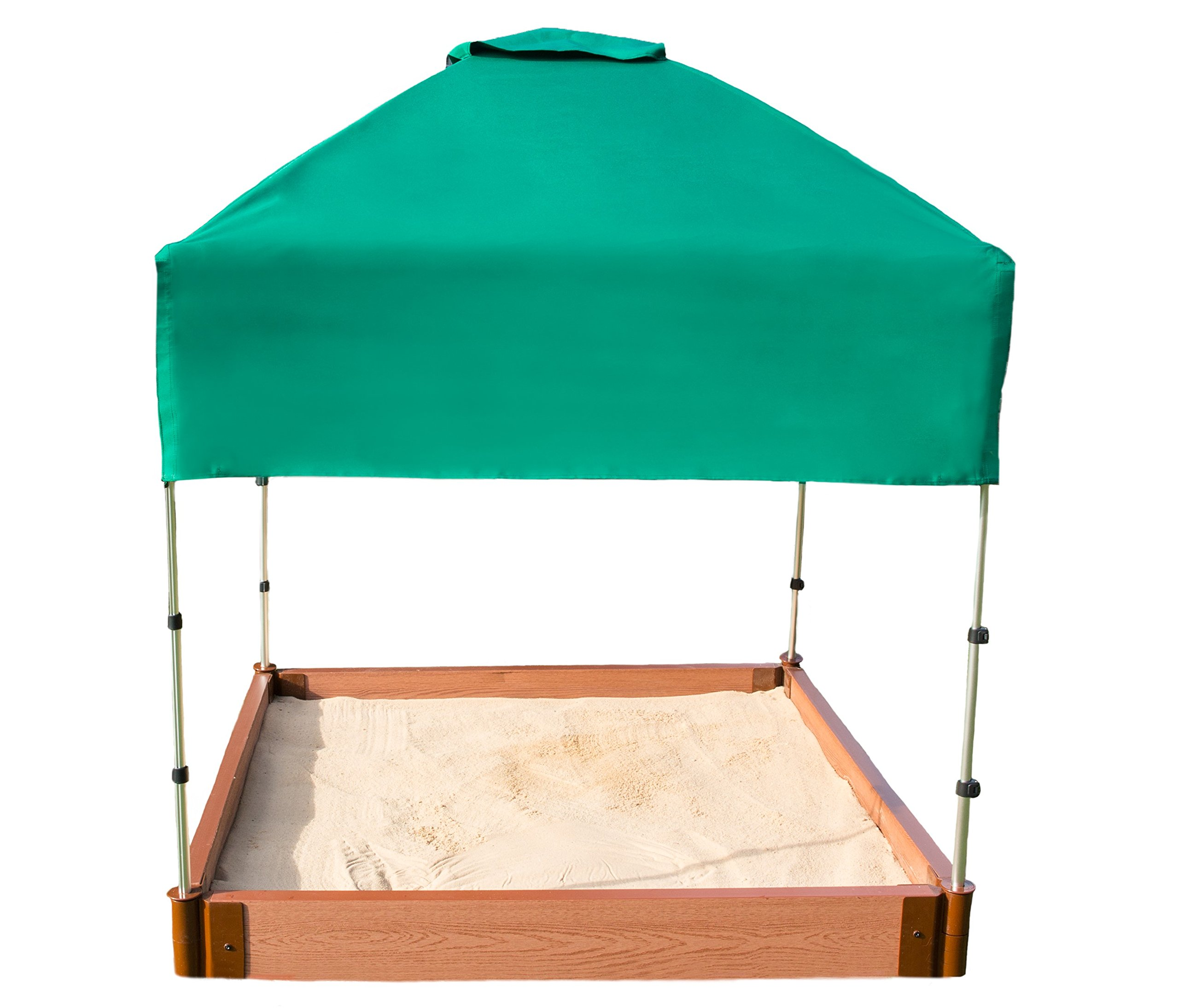Frame It All Two'' Series 4ft. x 5.5in. Composite Square Sandbox Kit with Canopy/Cover by Frame It All