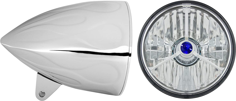 Part No: T50100-SR Adjure HB54210-SR 5-3//4 Flamed Chrome Sunset Boulevard Style Motorcycle Headlight Bucket Combo with Diamond Cut Skull Headlamp