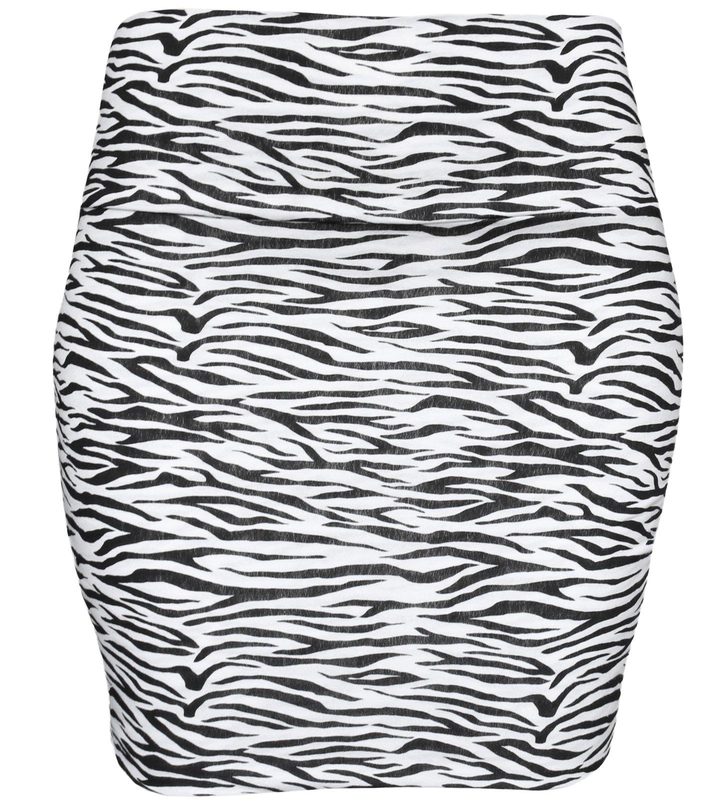 KMystic Basic Mini Skirt With Wide Waist Band (Medium, Zebra)