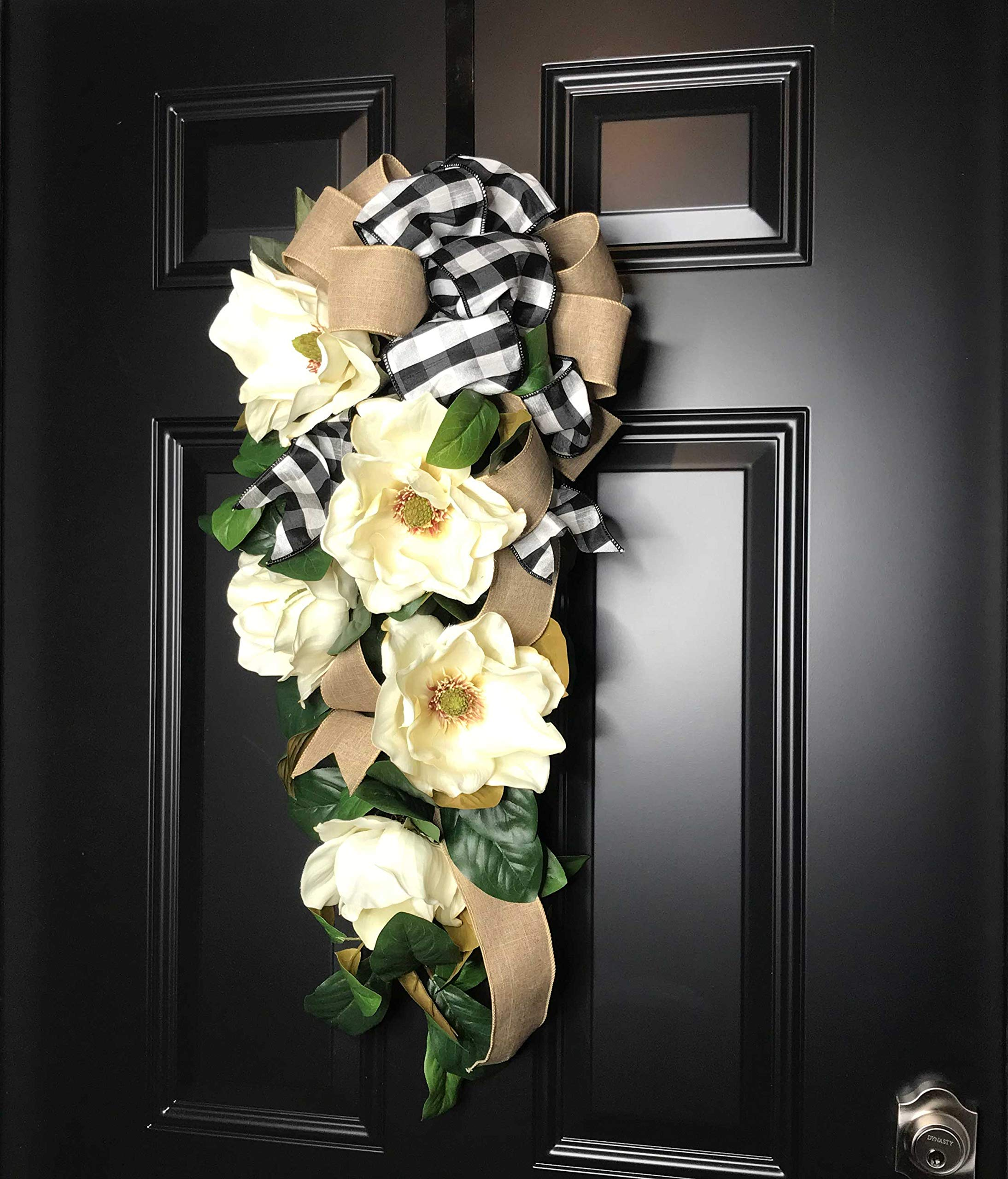 Large Southern Magnolia Teardrop Floral Swag Wreath w/Buffalo Plaid/Check Bow for Front Door Porch Indoor Wall Farmhouse Decor Spring Springtime Summer Summertime Year Round, Handmade, 30''L x 18'' W by Wreath and Vine, LLC (Image #3)