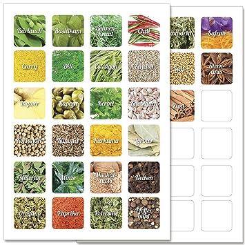 Gew/ürze Aufkleber Gew/ürzaufkleber 33 x 17 mm Etiketten Teil 1 33 transparente Gew/ürzetiketten