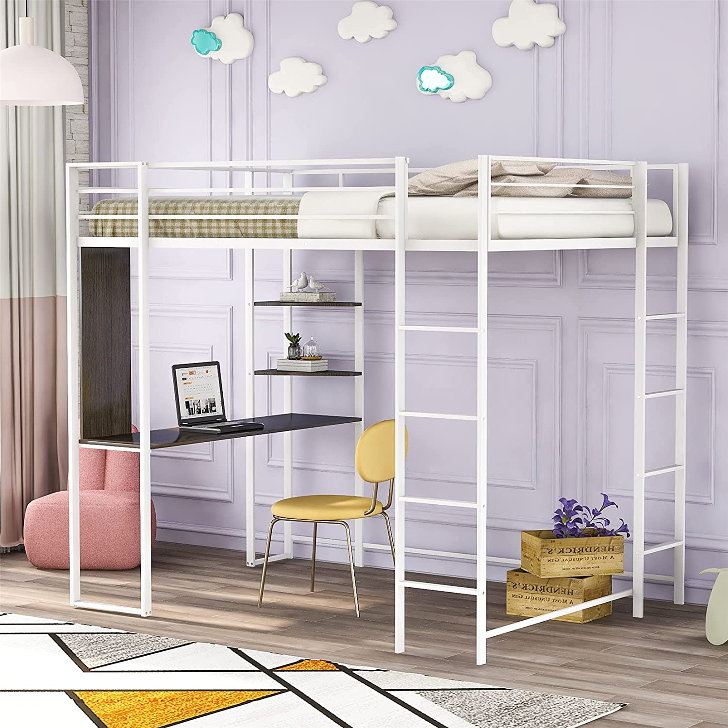 Metal Loft Bed Studio Loft Bunk Bed Over Desk and Bookcase with 2 Ladders,Twin Loft Bed for Dorm, Boys & Girls Teens Kids,White