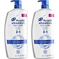 Head and Shoulders Shampoo and Conditioner 2 in 1, Anti Dandruff Treatment, Classic Clean, 32.1 fl oz, Twin Pack