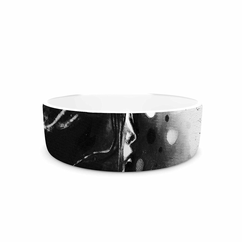 KESS InHouse Ivan Joh Shadow Play Black White Painting Pet Bowl, 7  Diameter