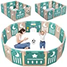 Baby Playpen, Dripex Foldable Kids Activity Centre Safety Play Yard Home Indoor Outdoor Baby Fence Play Pen with Gate for Baby Boys Girls Toddlers (Green + Brown)