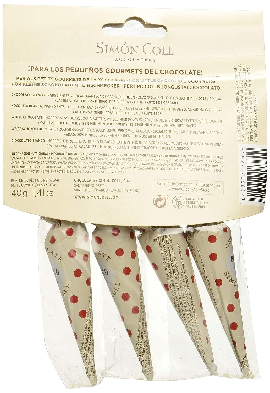 Chocolates Simón Coll, Barrita de chocolate tamaño snack (Blanco) - 40 gr.: Amazon.es: Alimentación y bebidas