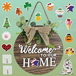 Seasonal Welcome Sign Front Door Porch Decor,Interchangeable antique round wreath,Comes with 14 festival ornaments, which can be used for housewarming gifts, Independence Day, Christmas, Halloween
