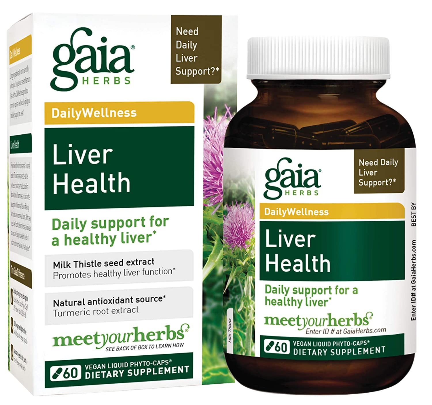Gaia Herbs Liver Health Vegan Liquid Capsules, 60 Count – Daily Liver Detox Supplement, Antioxidant Source with Organic Milk Thistle, Turmeric Curcumins , Licorice Root