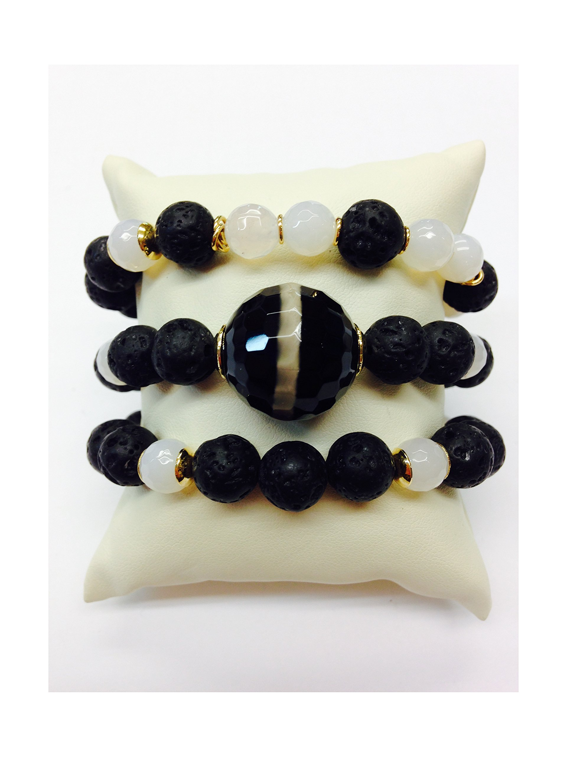 Set of 3 Handmade Bracelets - Volcanic Rock, White Agates, Rare Giant Black & White Tibetan Agate Natural Stones & Goldfilled Beads by Formula Moda