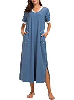 AVIIER Long Nightgown Womens Lounge Dresses with Pockets V Neck Short  Sleeve Nightshirt Sleepwear S- 84bb13aed