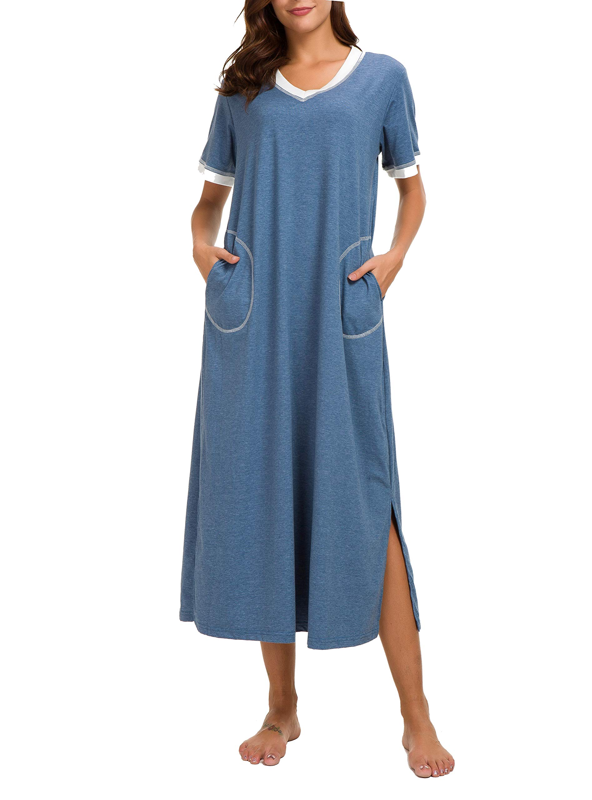 56aefeb8f2 AVIIER Long Nightgown Womens Lounge Dresses with Pockets V Neck Short  Sleeve Nightshirt Sleepwear S-