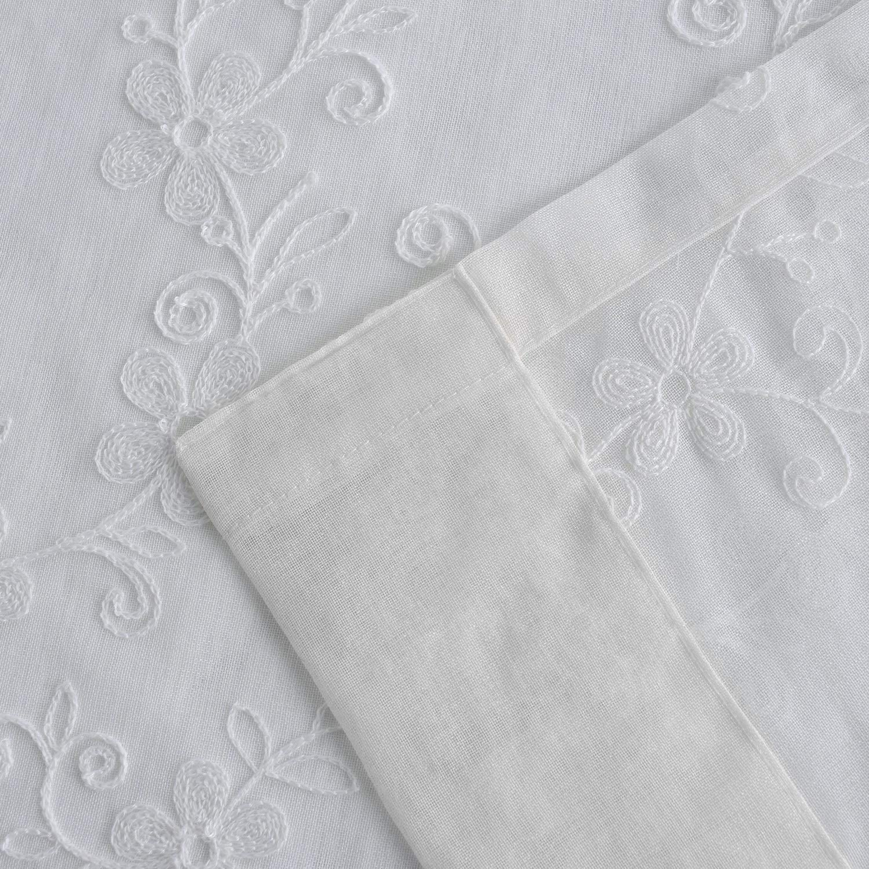 54 x 84,Two Panels VOGOL Rod Pocket Sheer Curtains Elegant Embroidered Banyan Leaves Design White Window Drapes//Panels for Living Room