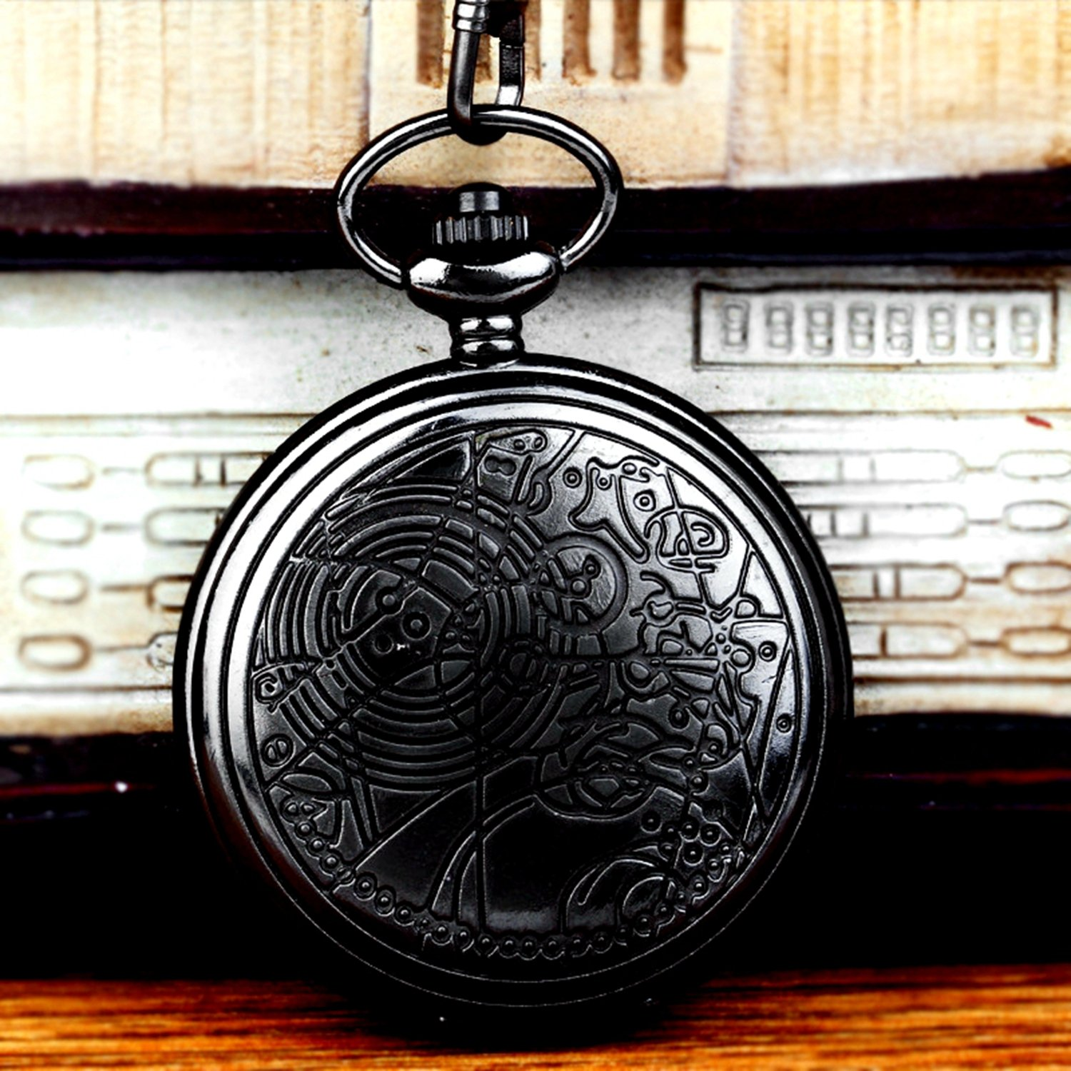 Vintage Black Doctor Who Retro Dr. Who Quartz Pocket Watch with Chain & Gift Box by New Brand Mall (Image #4)